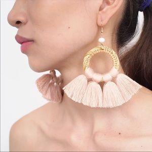 Straw Rattan Tassels Bohemian Dangle Earring